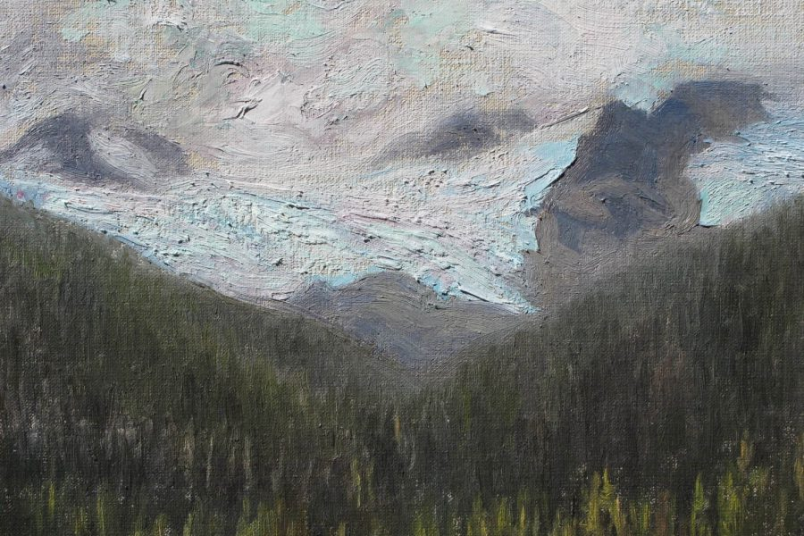 Paul Chizik - Joffrey Glacier. Oil on Board 8 x 10.5 inches