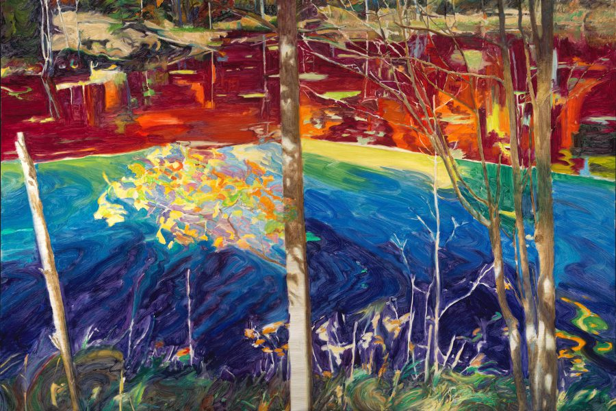 Paul Chizik - A Fall of Yellow on Blue. Oil on Linen 53 x 79.5 inches