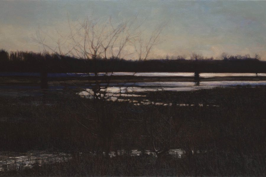 Paul Chizik - Movement of White on Black. Oil on Linen 36 x 60 inches
