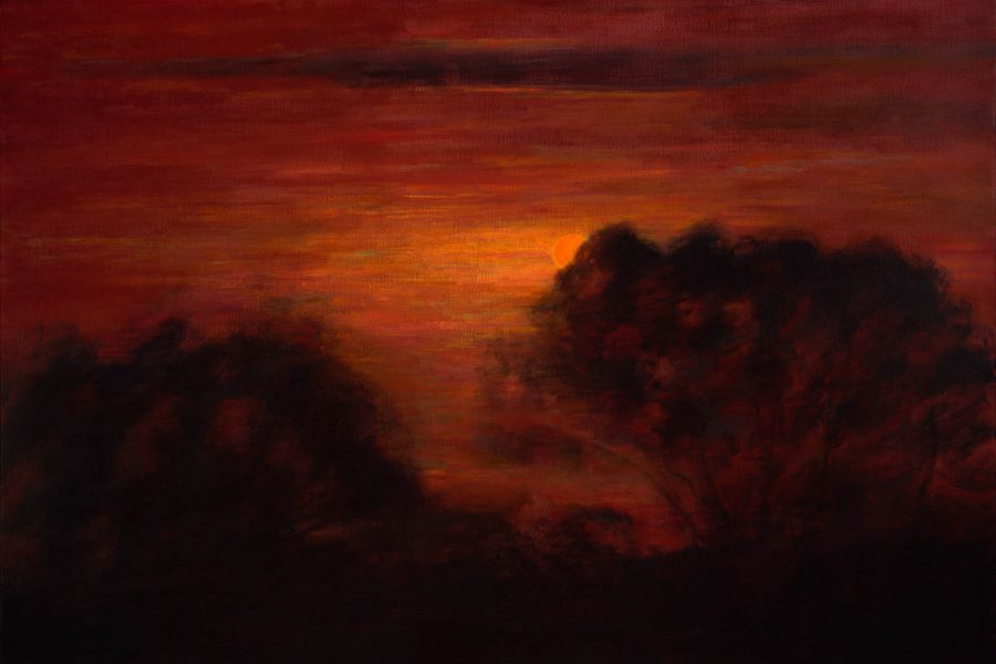 Paul Chizik - Slated Silhouette, Red Sky. Oil on Linen 43.5 x 60 inches