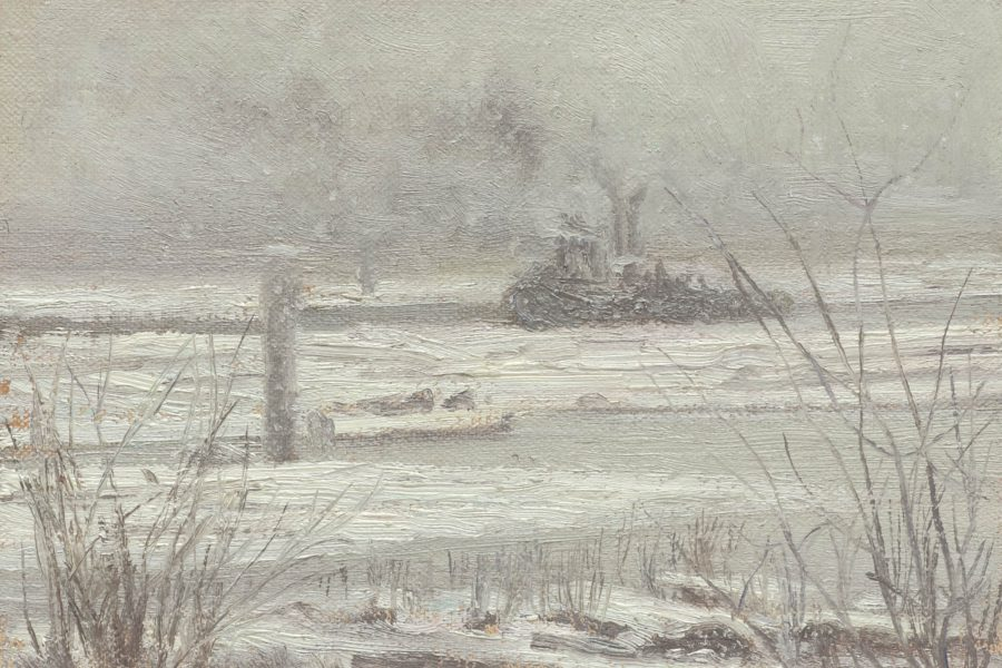 Paul Chizik - Snow and Smoke, McDonald Slough. Oil on Linen 4 x 7 inches