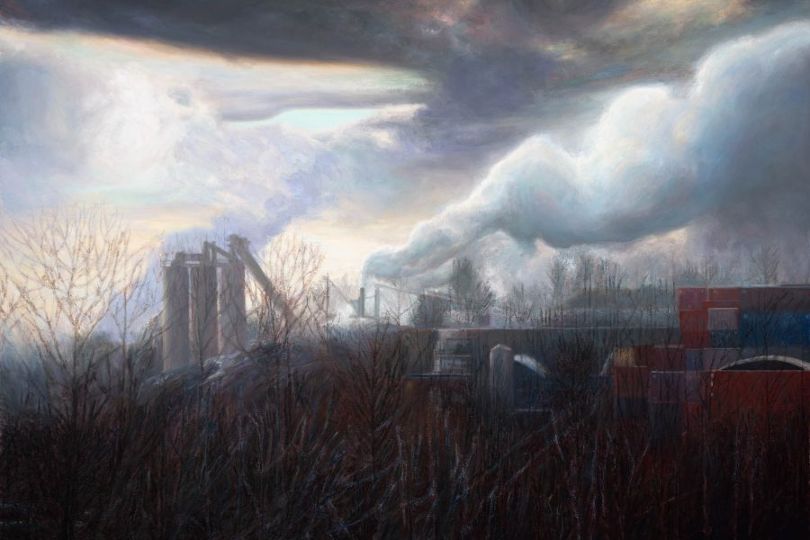 Paul Chizik - Weighted Smoke, Industrial Landscape. Oil on Linen 50 x 72 inches
