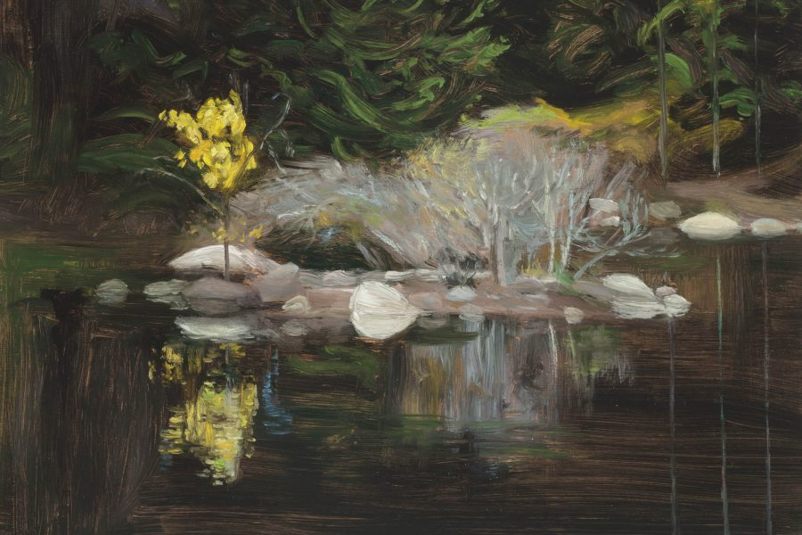 Paul Chizik - Yellow Bush,Dark Waters. Oil on Linen 9 x 12 inches
