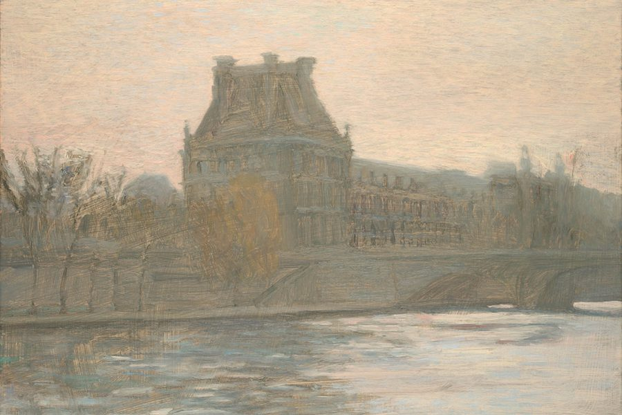 Paul Chizik - Along the Seine. Oil on Linen 14 x 18 inches