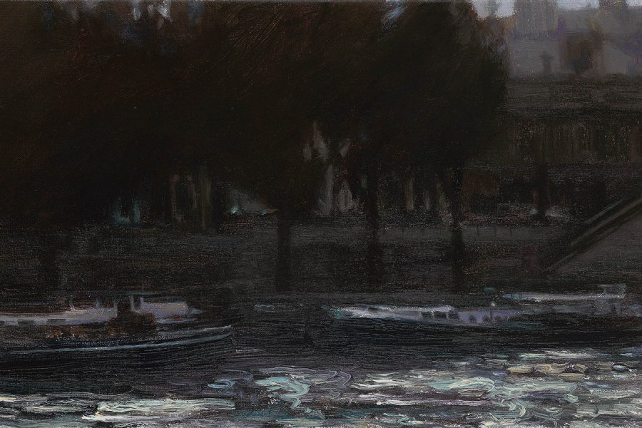 Paul Chizik - Dusk Along the Seine. Oil on Linen 9 x 15 inches