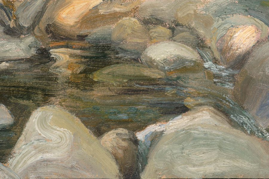 Paul Chizik - Gentle Runoff. Oil on Linen 4.5 x 9 inches