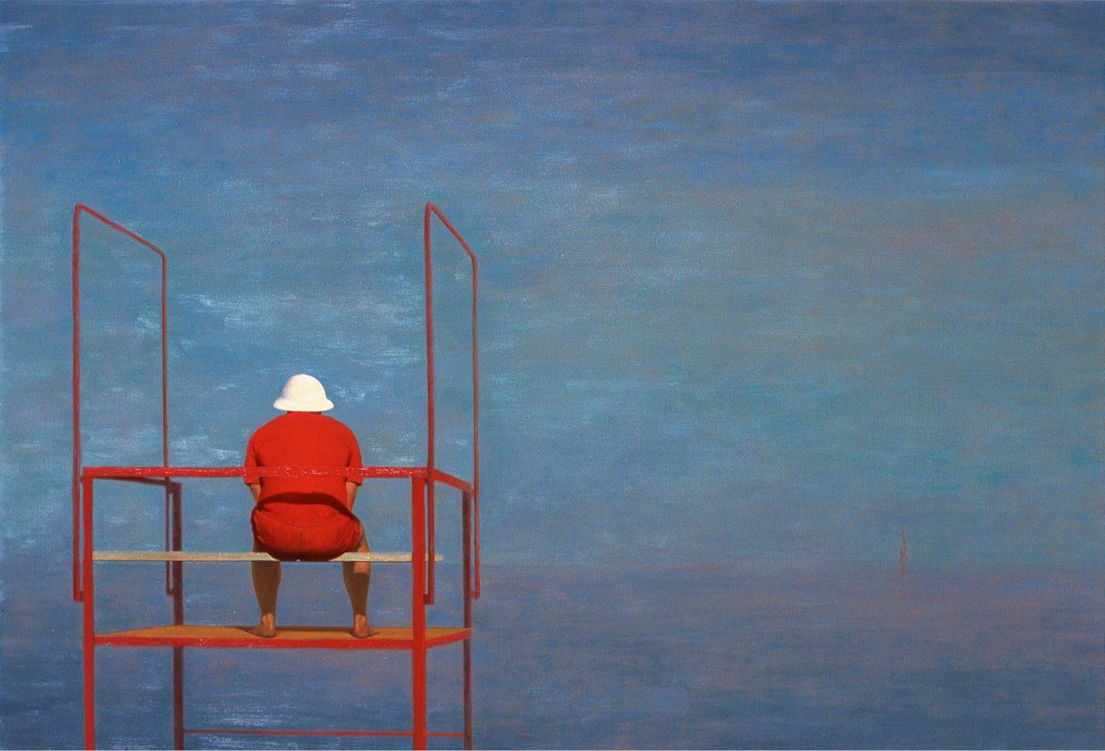 Paul Chizik - Red, White on Blue. Oil on Linen 5.5 x 8 Feet