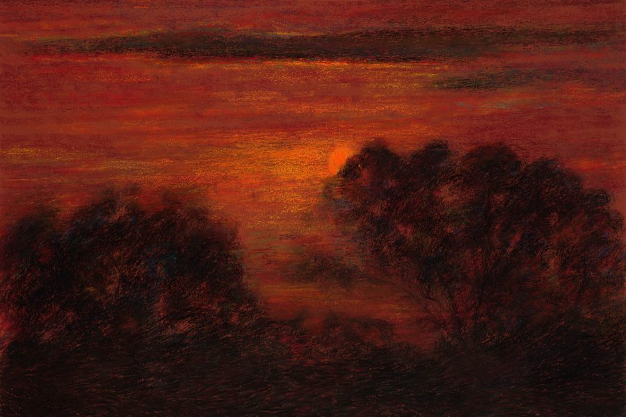 Paul Chizik - Silhouette Red Sky. Soft Pastel 18 x 26 inches