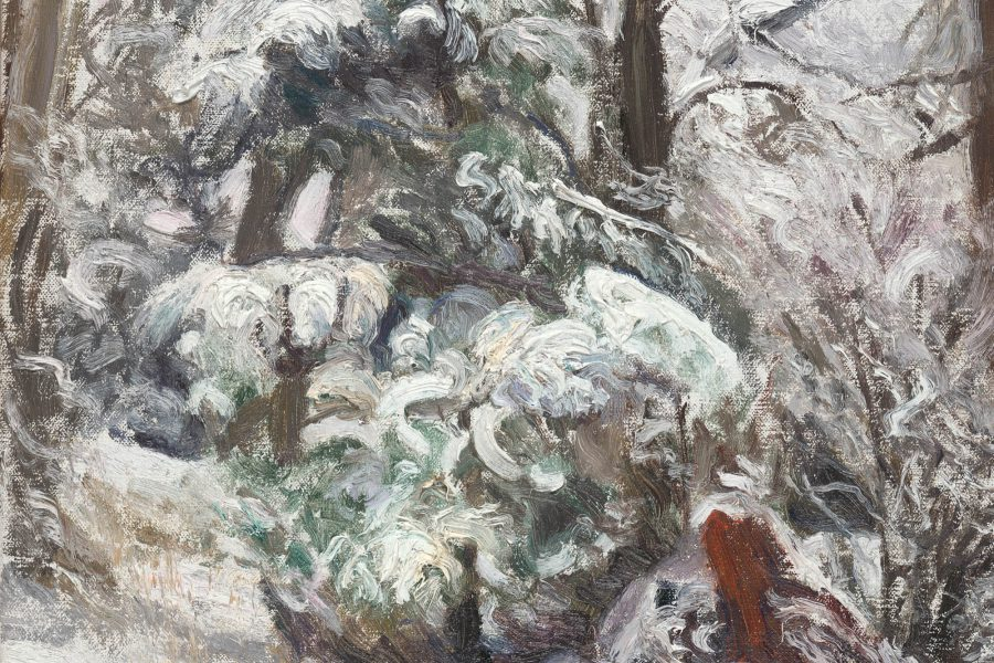 Paul Chizik - Silver Greys in a Wintered Wood. Oil on Linen 11 x 14 inches