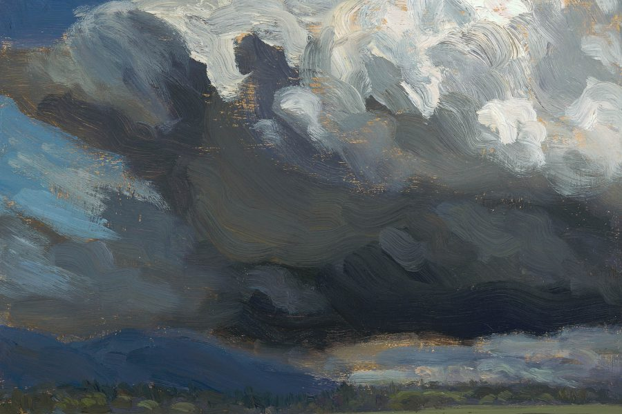 Paul Chizik - Storm over McDonald Slough. Oil on Linen 9 x 10.5 inches