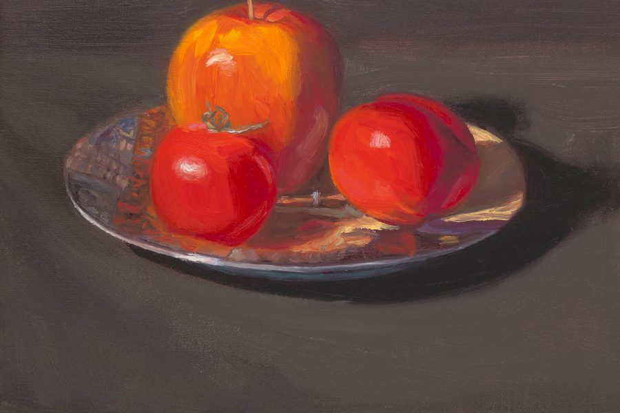 Paul Chizik - Study of Three Reds Oil on Linen 9.75 x 12 inches