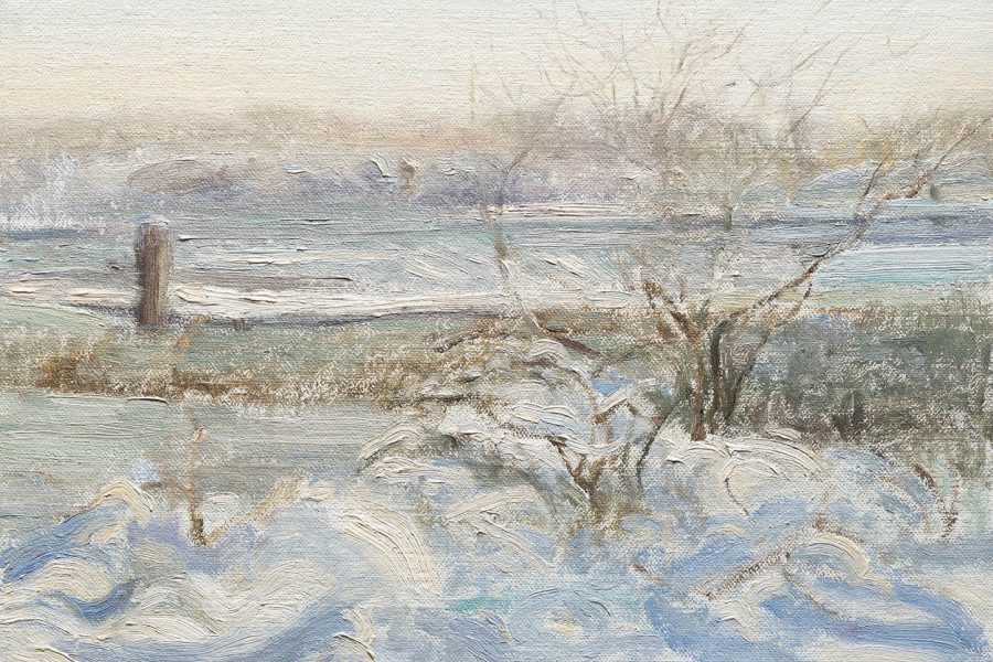 Paul Chizik - Wester Winter, Western Light. Oil on Linen 9.25 x 11.5 inches