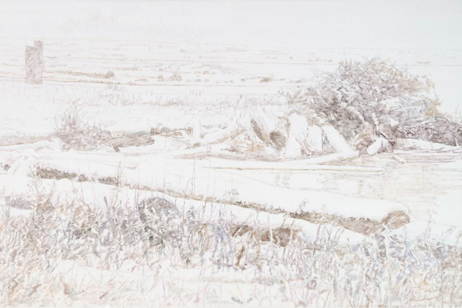Paul Chizik - White and Grey No.2. Oil on Linen 52 x 79 inches